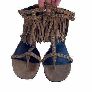 SAINT LAURENT Nu Pieds Leather Fringe Sandals